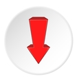 Red arrow down icon cartoon style vector image vector image