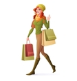 redhead woman walking with shopping bags vector image