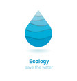 save the water - ecology concept with paper cut vector image