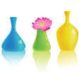 set different colorful vases vector image vector image