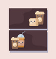 set of coffee and beverages kawaii character vector image