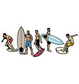 set people surfing in various pose vector image