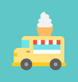 soft serve truck food truck flat style icon vector image vector image