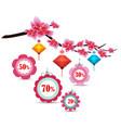 spring sale label design with sakura flowers vector image