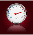 thermometer on red background with reflection vector image vector image