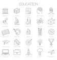 thin line online education icon set vector image vector image