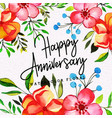 watercolor floral happy anniversary background vector image vector image