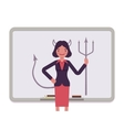 Woman against the whiteboard with drawn devil vector image vector image