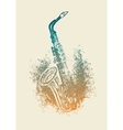 saxophone with floral patterns vector image