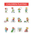 children playing thin line icons vector image