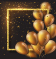 3d glossy golden ballons with frame and confetti vector image