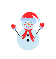 a snowman in the color icon winter person vector image vector image