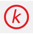 basic font letter k icon design vector image vector image