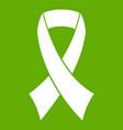 breast cancer awareness ribbon icon green vector image vector image