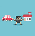 businesswoman who is carrying home and car vector image vector image
