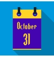 Calendar october thirty first icon flat style vector image
