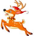 cartoon deer in a santa hat jumping vector image vector image