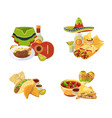 cartoon mexican food piles set isolated on vector image vector image