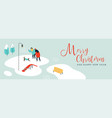 christmas card of people with dog in winter park vector image