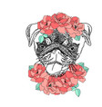 dog with wreath of red flowers and green leaves vector image vector image