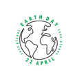 earth day globe with text vector image vector image
