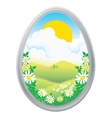 easter eggs in the grass spring vector image vector image