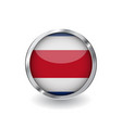 flag of costa rica button with metal frame and vector image vector image
