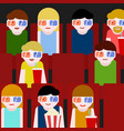 flat people sitting in the cinema and watching a vector image vector image