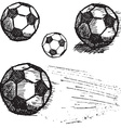 football soccer ball sketch set isolated on white vector image
