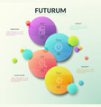 four separate multicolored circles with thin line vector image vector image