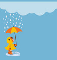 girl with umbrella standing under rain vector image