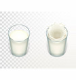 glasses with milk mockup for advertising vector image vector image