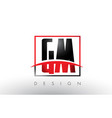 gm g m logo letters with red and black colors and vector image vector image