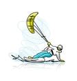 Kite surfer on snowboard sketch for your design vector image vector image