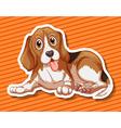 Little puppy sitting on orange background vector image vector image