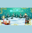 merry christmas postcard with winter landscape vector image vector image