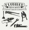 monochrome plumber emblem elements vector image