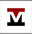 negative space letter m square logo vector image vector image