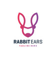 rabbit ear outline logo vector image