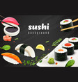 realistic sushi background vector image vector image