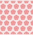 red and pink symmetrical folk floral repeat vector image vector image