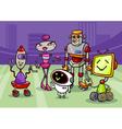 robots group cartoon vector image vector image