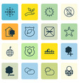 Set of 16 eco-friendly icons includes sun clock vector image