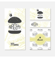 Set of cards with sketched burger Fast food vector image vector image