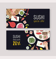 set of discount vouchers or coupons with japanese vector image