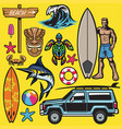 set tropical beach holiday objects vector image vector image