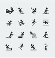 signs showing a stick figure man and various vector image vector image
