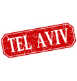 Tel Aviv red square grunge retro style sign vector image vector image
