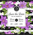 wedding invitation template with clematis flowers vector image