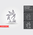 zombie hand line icon with editable stroke vector image